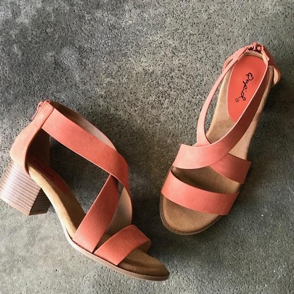 aee702d29661 Qupid Coral Suede Low Block Heel Sandal